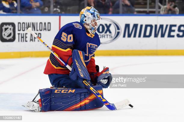 Jordan Binnington of the St Louis Blues blocks a shot from the New York Islanders at Enterprise Center on February 27 2020 in St Louis Missouri