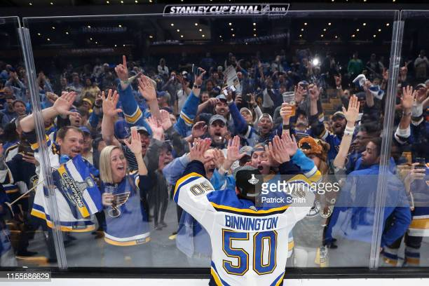 Jordan Binnington of the St Louis Blues celebrates with fans after defeating the Boston Bruins in Game Seven to win the 2019 NHL Stanley Cup Final at...