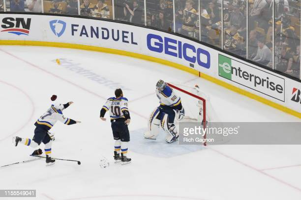 Jordan Binnington of the St Louis Blues celebrates with his teammates after defeating the Boston Bruins in Game Seven to win the 2019 NHL Stanley Cup...