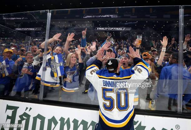 Jordan Binnington of the St Louis Blues celebrates with the fans after defeating the Boston Bruins in Game Seven of the 2019 NHL Stanley Cup Final at...