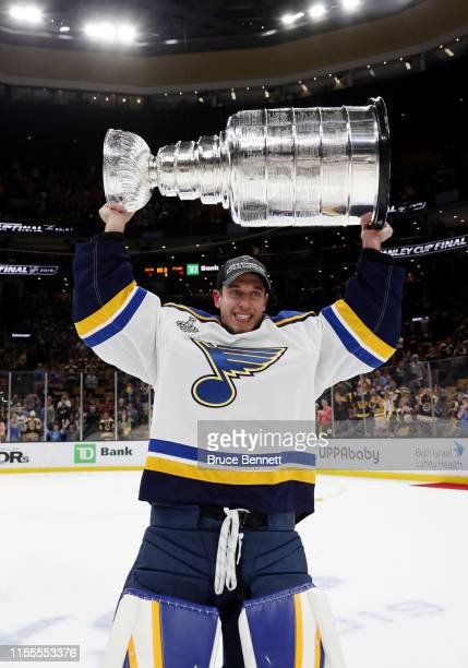 Jordan Binnington of the St Louis Blues celebrates with the Stanley cup after defeating the Boston Bruins in Game Seven of the 2019 NHL Stanley Cup...