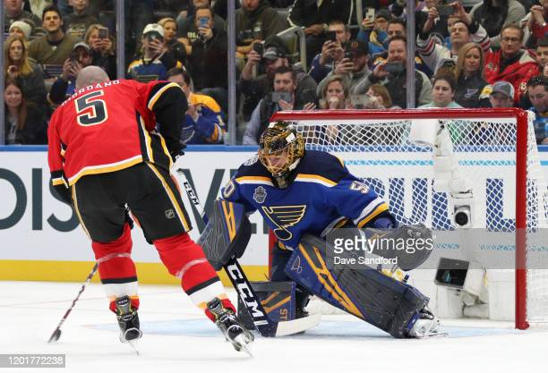 Jordan Binnington of the St Louis Blues competes in the Bud Light NHL Save Streak event as part of of the 2020 NHL AllStar Skills competition at...
