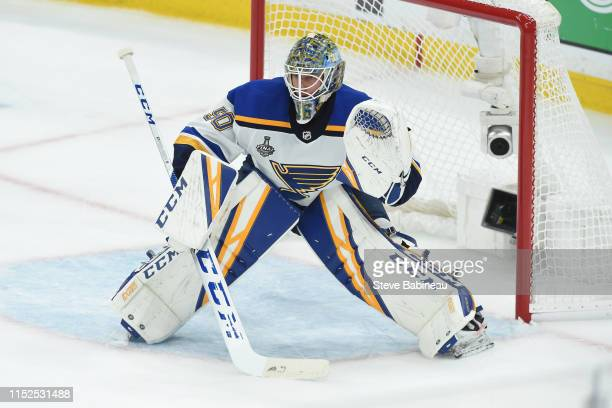 Jordan Binnington of the St Louis Blues in the net against the Boston Bruins in Game Two of the Stanley Cup Final during the 2019 NHL Stanley Cup...