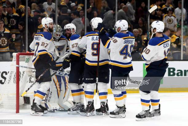 Jordan Binnington of the St Louis Blues is congratulated by his teammates after their 21 win over the Boston Bruins in Game Five of the 2019 NHL...
