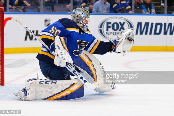 Jordan Binnington of the St Louis Blues makes a save against the Winnipeg Jets in Game Three of the Western Conference First Round during the 2019...