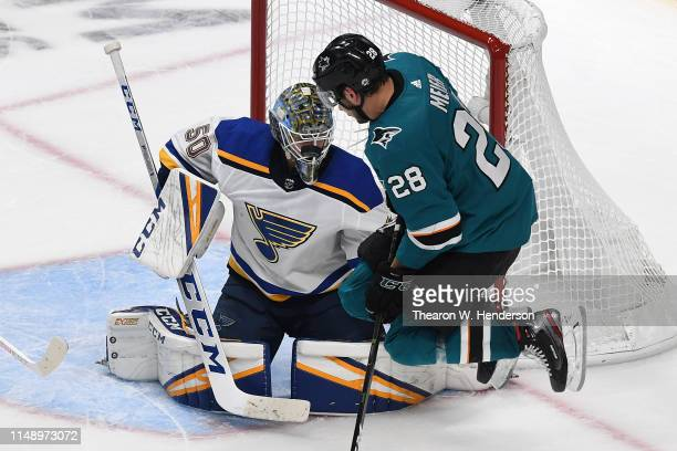 Jordan Binnington of the St Louis Blues makes a save against Timo Meier of the San Jose Sharks in Game Two of the Western Conference Final during the...