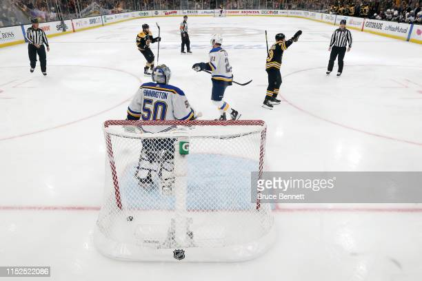 Jordan Binnington of the St Louis Blues reacts after allowing a first period goal to Charlie Coyle of the Boston Bruins in Game Two of the 2019 NHL...