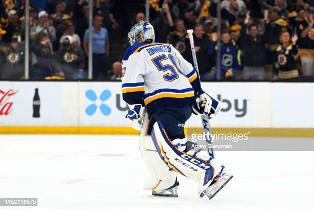 Jordan Binnington of the St Louis Blues reacts to his teams 42 deficit against the Boston Bruins during the third period in Game One of the 2019 NHL...