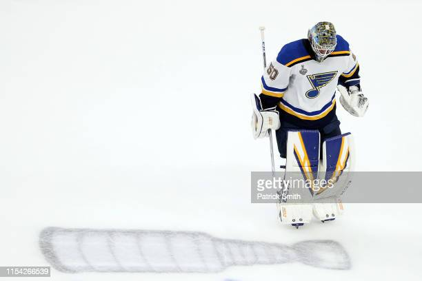 Jordan Binnington of the St Louis Blues skates during a timeout against the Boston Bruins during the third period in Game Five of the 2019 NHL...