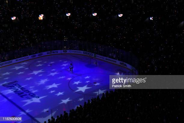 Jordan Binnington of the St Louis Blues stands for the national anthem before playing Boston Bruins during in Game Two of the 2019 NHL Stanley Cup...