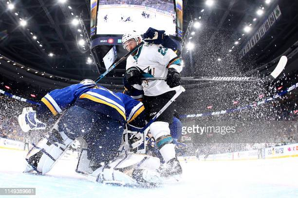 Jordan Binnington of the St Louis Blues tends goal against Barclay Goodrow of the San Jose Sharks in Game Three of the Western Conference Finals...