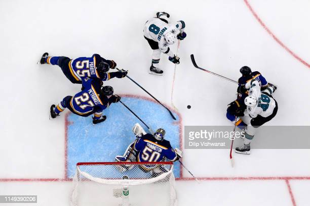 Jordan Binnington of the St Louis Blues tends goal against Joe Pavelski of the San Jose Sharks in Game Three of the Western Conference Finals during...