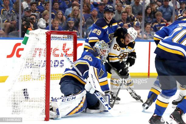 Jordan Binnington of the St Louis Blues tends net against the Boston Bruins during the second period in Game Six of the 2019 NHL Stanley Cup Final at...