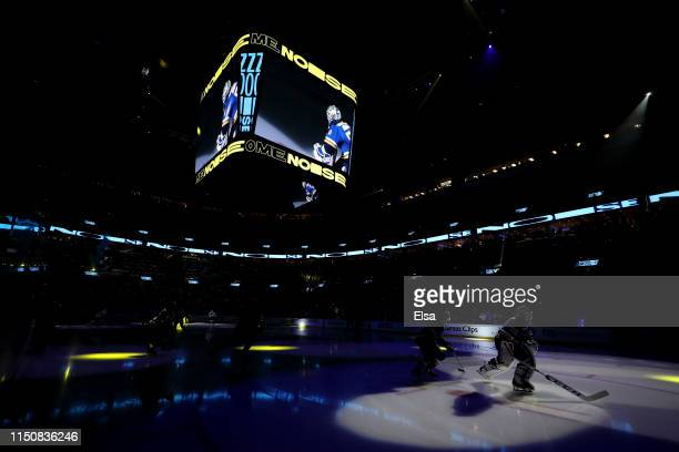 Jordan Binnington of the St Louis Blues warms up prior to Game Six against the San Jose Sharks in the Western Conference Finals during the 2019 NHL...