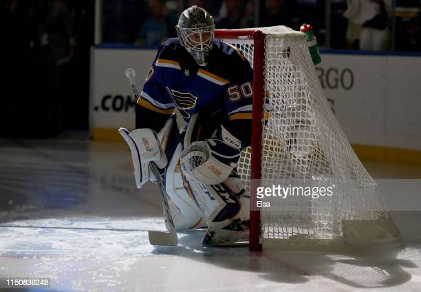 Jordan Binnington of the St. Louis Blues warms up prior to Game Six against the San Jose Sharks in the Western Conference Finals during the 2019 NHL...