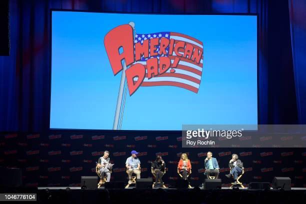 Jordan Blum Parker Deay Rachael MacFarlane Wendy Schaal Dee Bradley Baker and Curtis Armstrong speak onstage at the American Dad panel during 2018...