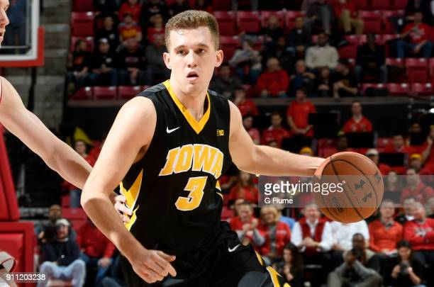 Jordan Bohannon of the Iowa Hawkeyes handles the ball against the Maryland Terrapins at Xfinity Center on January 7 2018 in College Park Maryland