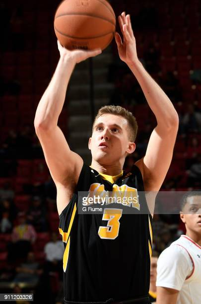 Jordan Bohannon of the Iowa Hawkeyes shoots a free throw against the Maryland Terrapins at Xfinity Center on January 7 2018 in College Park Maryland