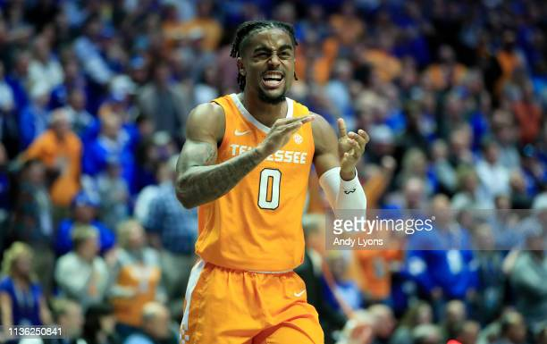 Jordan Bone of the Tennessee Volunteers celebrates during the 8278 win over the Kentucky Wildcats during the semifinals of the SEC Basketball...