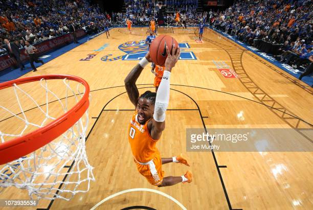 Jordan Bone of the Tennessee Volunteers goes up for a dunk against the Memphis Tigers in the 2nd Half on December 15, 2018 at FedExForum in Memphis,...