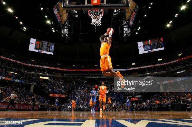 Jordan Bone of the Tennessee Volunteers goes up for a dunk against the Memphis Tigers in the 2nd Half on December 15 2018 at FedExForum in Memphis...