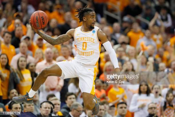 Jordan Bone of the Tennessee Volunteers throws a pass against the Tennessee Volunteers during the first half of the 2019 NCAA Men's Basketball...