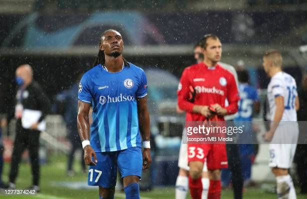 Jordan Botaka of KAA Gent looks dejected during the UEFA Champions League PlayOff first leg match between KAA Gent and Dynamo Kyiv at Ghelamco Arena...