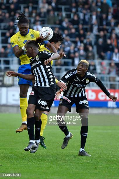 Jordan Botaka of STVV Wataru Endo of STVV Nurio Fortuna of Charleroi and Victor Osimhen of Charleroi fight for the ball during the Jupiler Pro League...