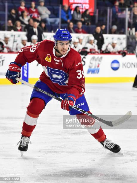 Jordan Boucher of the Laval Rocket skates against the Belleville Senators during the AHL game at Place Bell on February 14 2018 in Laval Quebec...