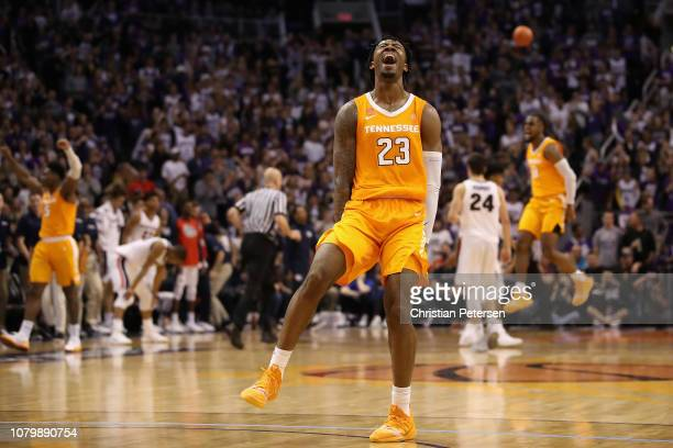 Jordan Bowden of the Tennessee Volunteers celebrates after defeating the Gonzaga Bulldogs in the game at Talking Stick Resort Arena on December 9...