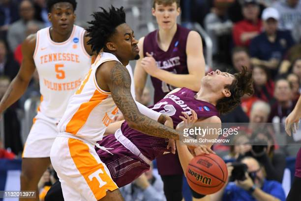Jordan Bowden of the Tennessee Volunteers collides with Jack Ferguson of the Colgate Raiders in the first round of the 2019 NCAA Photos via Getty...