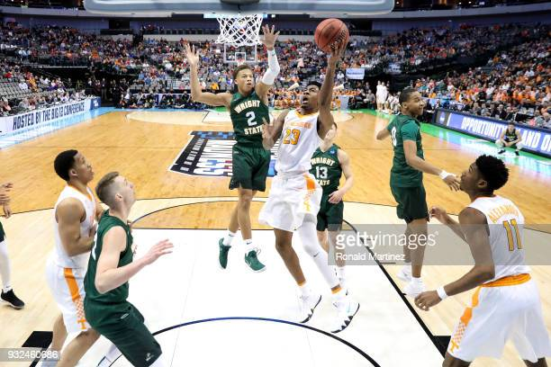 Jordan Bowden of the Tennessee Volunteers goes up for shot against Everett Winchester of the Wright State Raiders in the first half in the first...