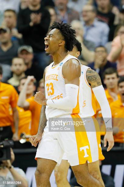 Jordan Bowden of the Tennessee Volunteers reacts against the Purdue Boilermakers during the second half of the 2019 NCAA Men's Basketball Tournament...