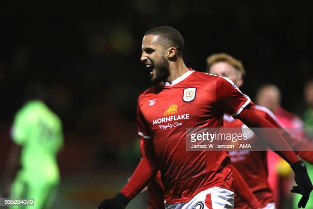 Jordan Bowery of Crewe Alexandra celebrates after scoring a goal to make it 10 during the Sky Bet League Two match between Crewe Alexandra and Forest...