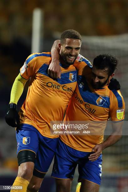 Jordan Bowery of Mansfield Town celebrates after scoring a goal to make it 2-0 during the Sky Bet League Two match between Mansfield Town and Salford...