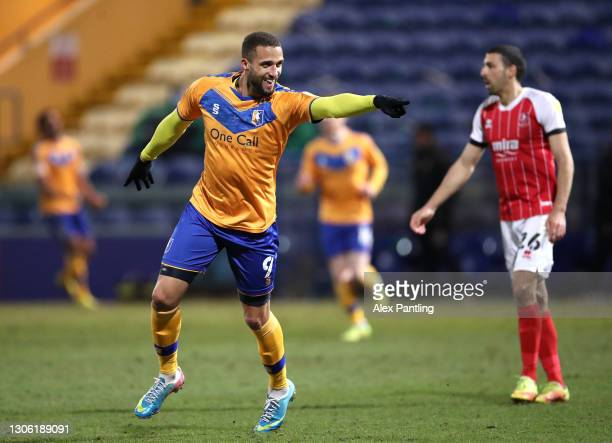 Jordan Bowery of Mansfield Town celebrates after scoring their sides third goal during the Sky Bet League Two match between Mansfield Town and...
