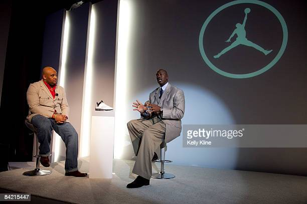 Jordan Brand footwear designer Jason Mayden and Michael Jordan address the media during the launch of the Air Jordan 2009 at The Event Space on...