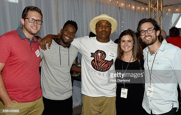 Jordan Brasher Titans player Harry Douglas and Titans player Avery Williamson Ed Berry and CAA employee Heather Grosz attend the 24th Annual CAA BBQ...