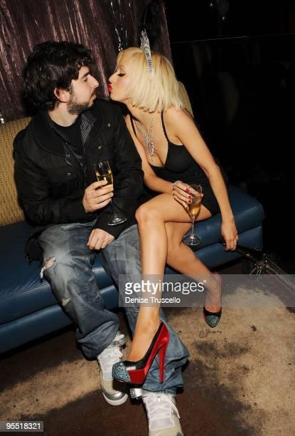 Jordan Bratman and Christina Aguilera celebrate New Year's Eve at TAO Nightclub at the Venetian on December 31, 2009 in Las Vegas, Nevada.