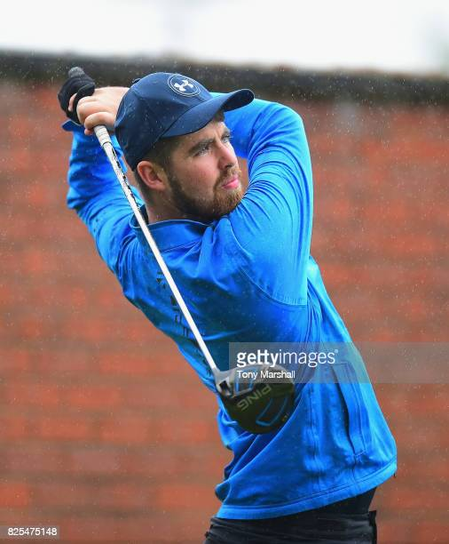 Jordan Brown of Dumfries County Golf Club plays his first shot on the 1st tee during Day One of the Galvin Green PGA Assistants' Championship at...
