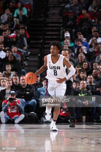 Jordan Brown of Team USA dribbles the ball against Team World during the Nike Hoop Summit on April 13 2018 at the MODA Center Arena in Portland...