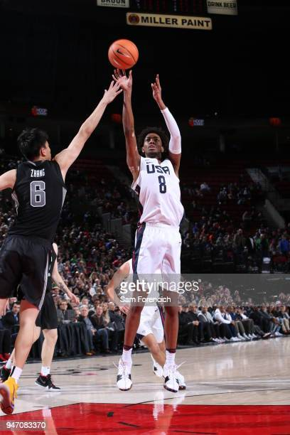 Jordan Brown of Team USA shoots the ball against Team World during the Nike Hoop Summit on April 13 2018 at the MODA Center Arena in Portland Oregon...