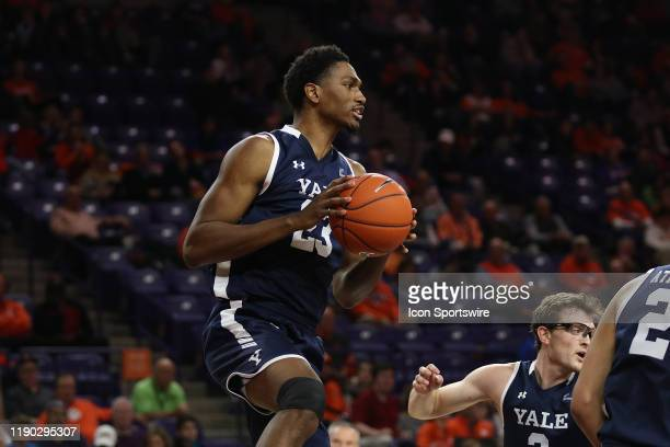 Jordan Bruner forward of Yale during a college basketball game between the Yale Bulldogs and the Clemson Tigers on December 22 at Littlejohn Coliseum...