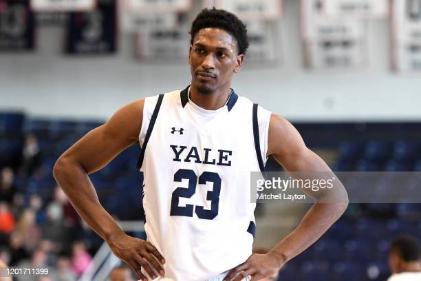 Jordan Bruner of the Yale Bulldogs looks on during a college basketball game against the against the Howard Bison at Burr Gymnasium on January 20...