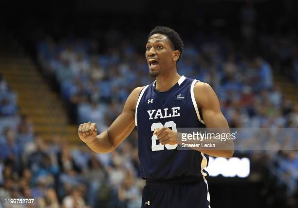 Jordan Bruner of the Yale Bulldogs reacts after a play against the North Carolina Tar Heels during their game at Dean Smith Center on December 30,...
