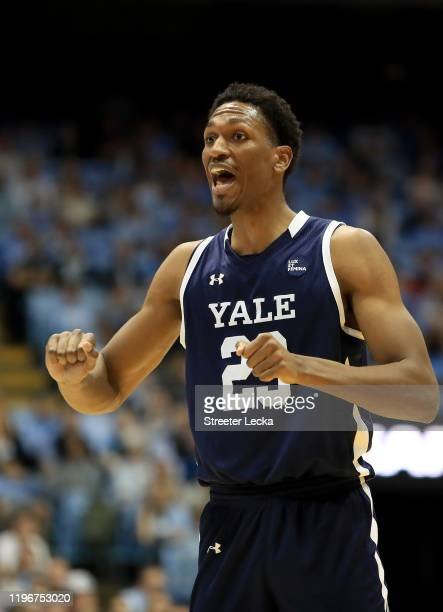 Jordan Bruner of the Yale Bulldogs reacts after a play against the North Carolina Tar Heels during their game at Dean Smith Center on December 30...
