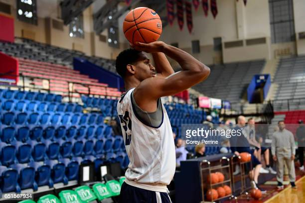 Jordan Bruner of the Yale Bulldogs shoots the ball during a shoot around practice in preparation for the Ivy League tournament at The Palestra on...