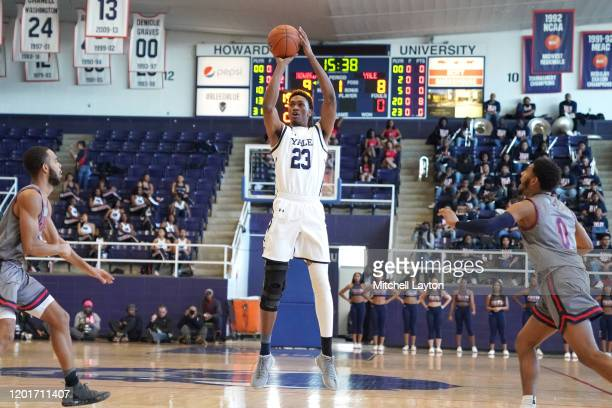 Jordan Bruner of the Yale Bulldogs takes a jump shot during a college basketball game against the against the Howard Bison at Burr Gymnasium on...