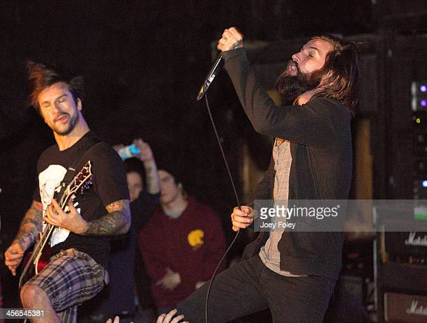 Jordan Buckley and Keith Buckley of Every Time I Die performs at The Emerson Theater on December 13 2013 in Indianapolis Indiana