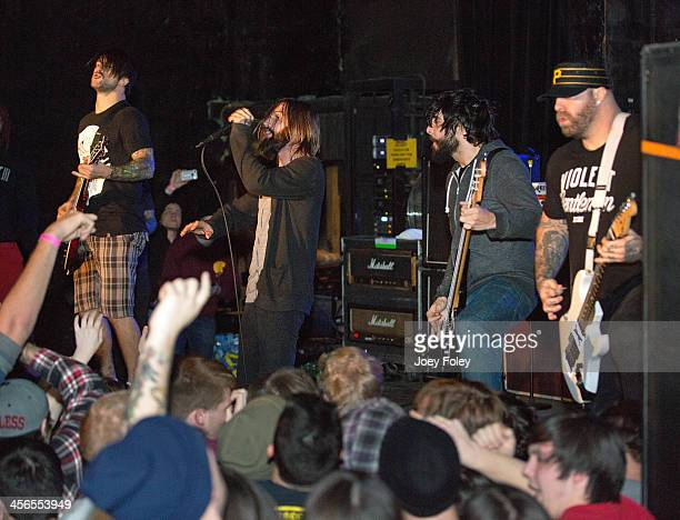 Jordan Buckley Keith Buckley Stephen Micciche and Andy Williams of the heavy metal band Every Time I Die performs at The Emerson Theater on December...